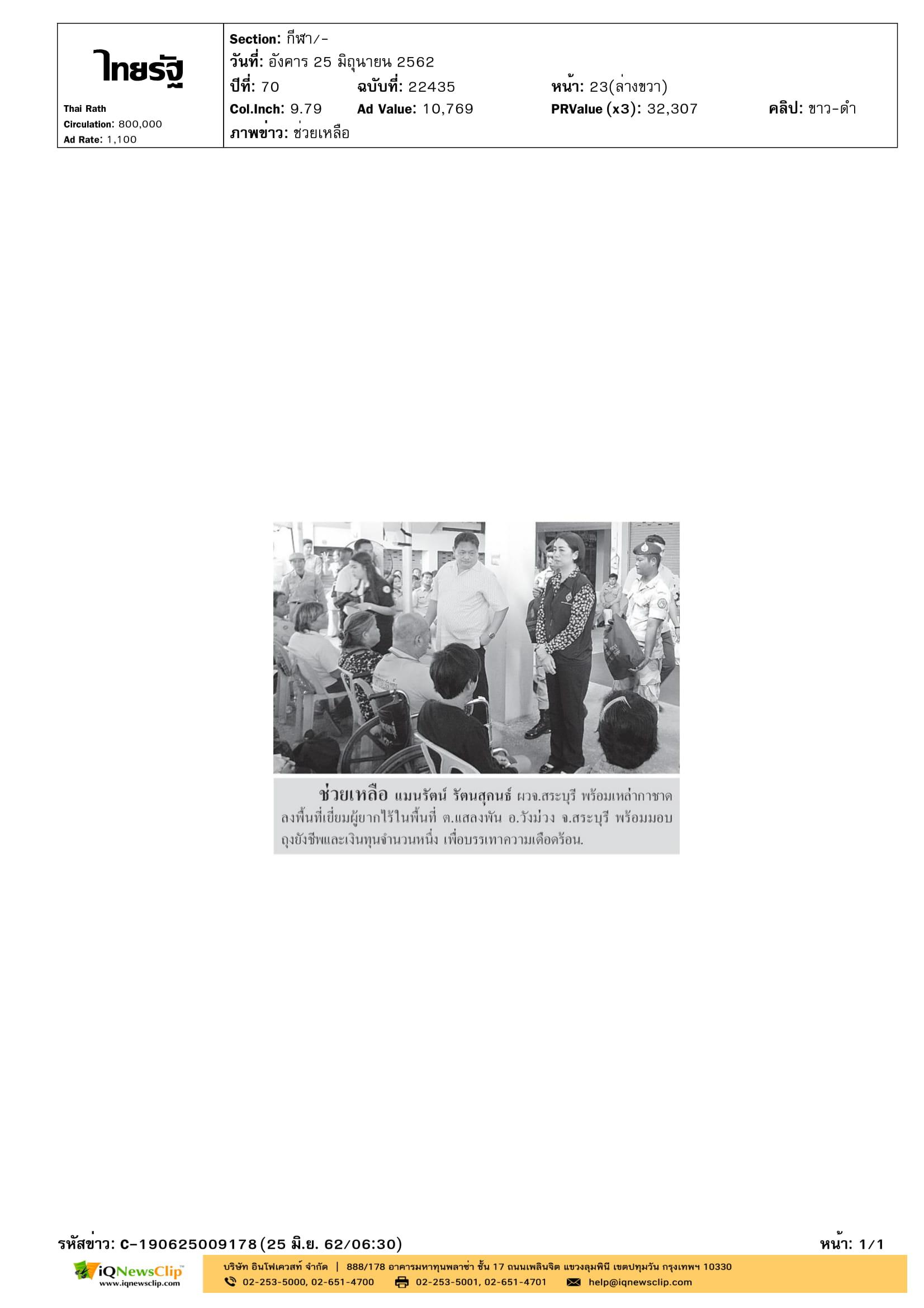 เหล่ากาชาด จ.สระบุรี มอบถุงยังชีพให้แก่ผู้ยากไร้