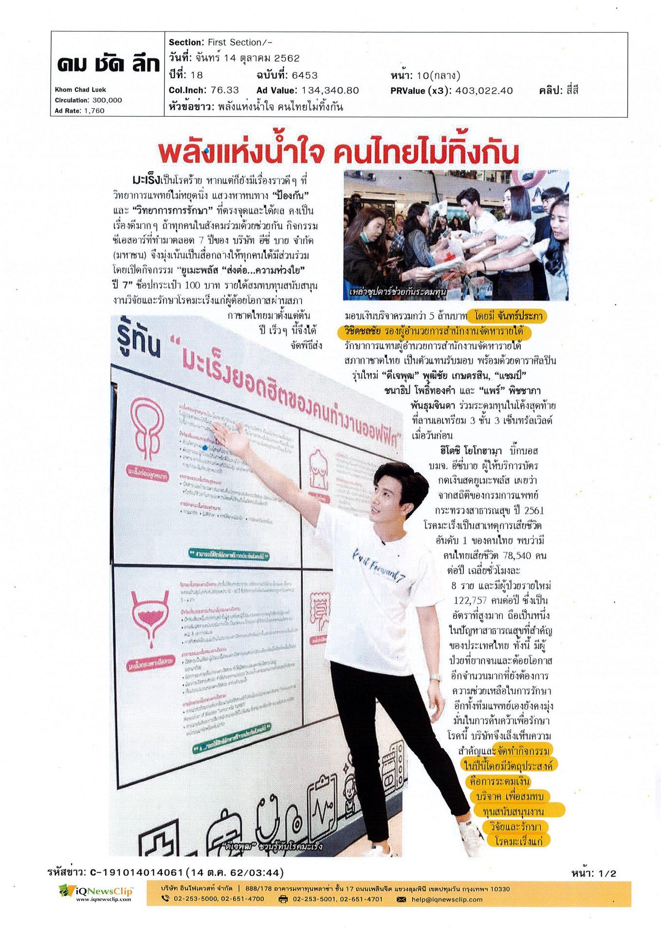 ยูเมะพลัส สนับสนุนงานวิจัยสภากาชาดไทย