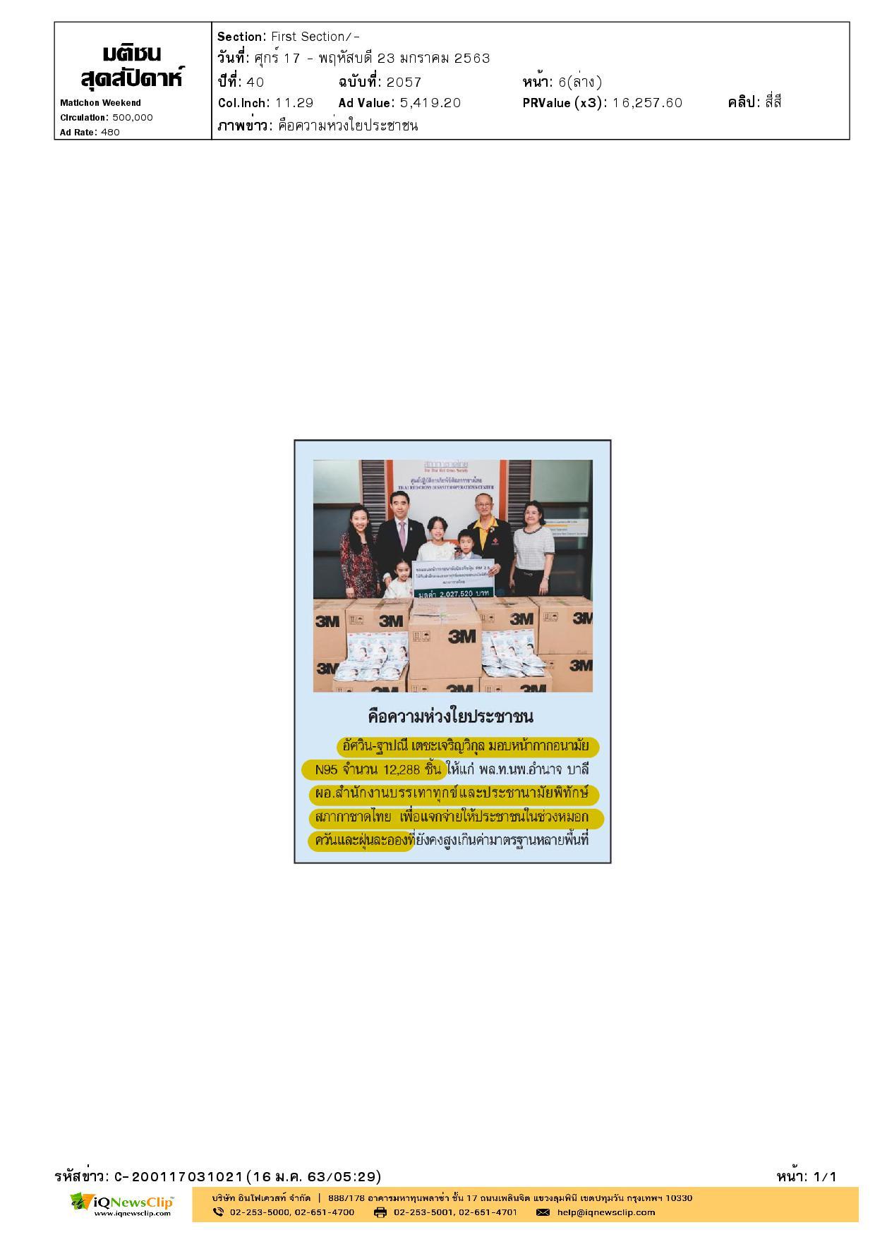มอบหน้ากากอนามัย N95 ให้แก่สำนักงานบรรเทาทุกข์ฯ เพื่อแจกจ่ายประชาชน