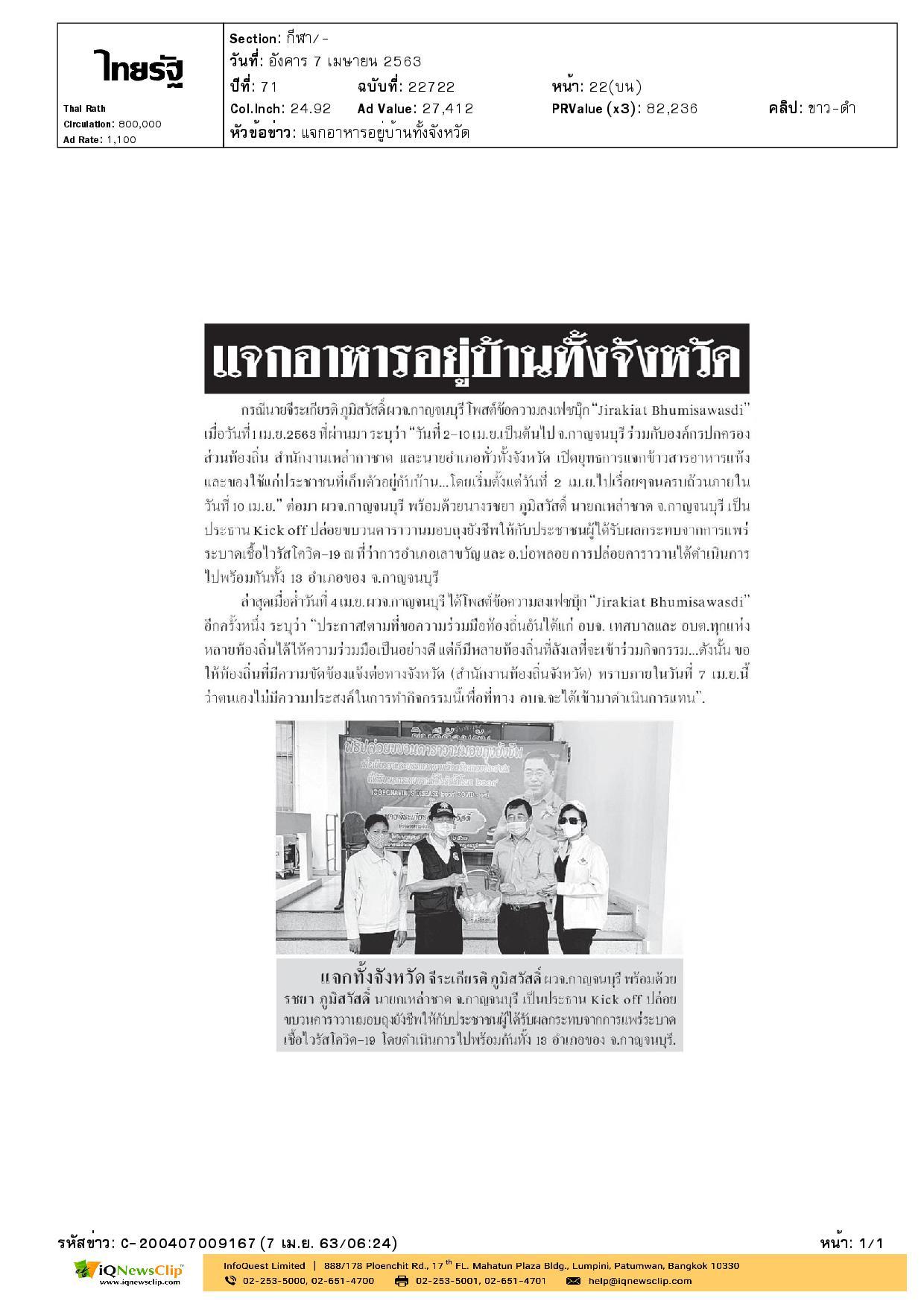 นายกเหล่ากาชาด จ.กาญจนบุรี แจกเครื่องอุปโภค บริโภคและข้าวกล่อง