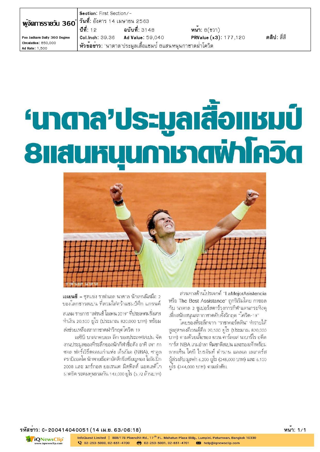 ราฟาเอล นาดาล นักเทนนิส บริจาคเงินช่วยเหลือสภากาชาดฝ่าวิกฤตโควิด-19