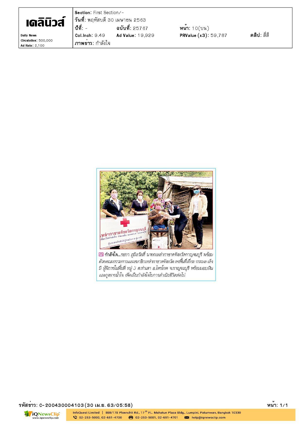 นายกเหล่ากาชาด จ.กาญจนบุรี ลงพื้นที่เยี่ยมผู้พิการ