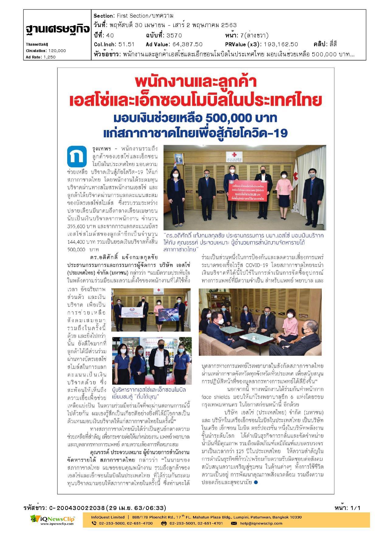 มอบเงินช่วยเหลือ แก่สภากาชาดไทยเพื่อสู้ภัยโควิด-19