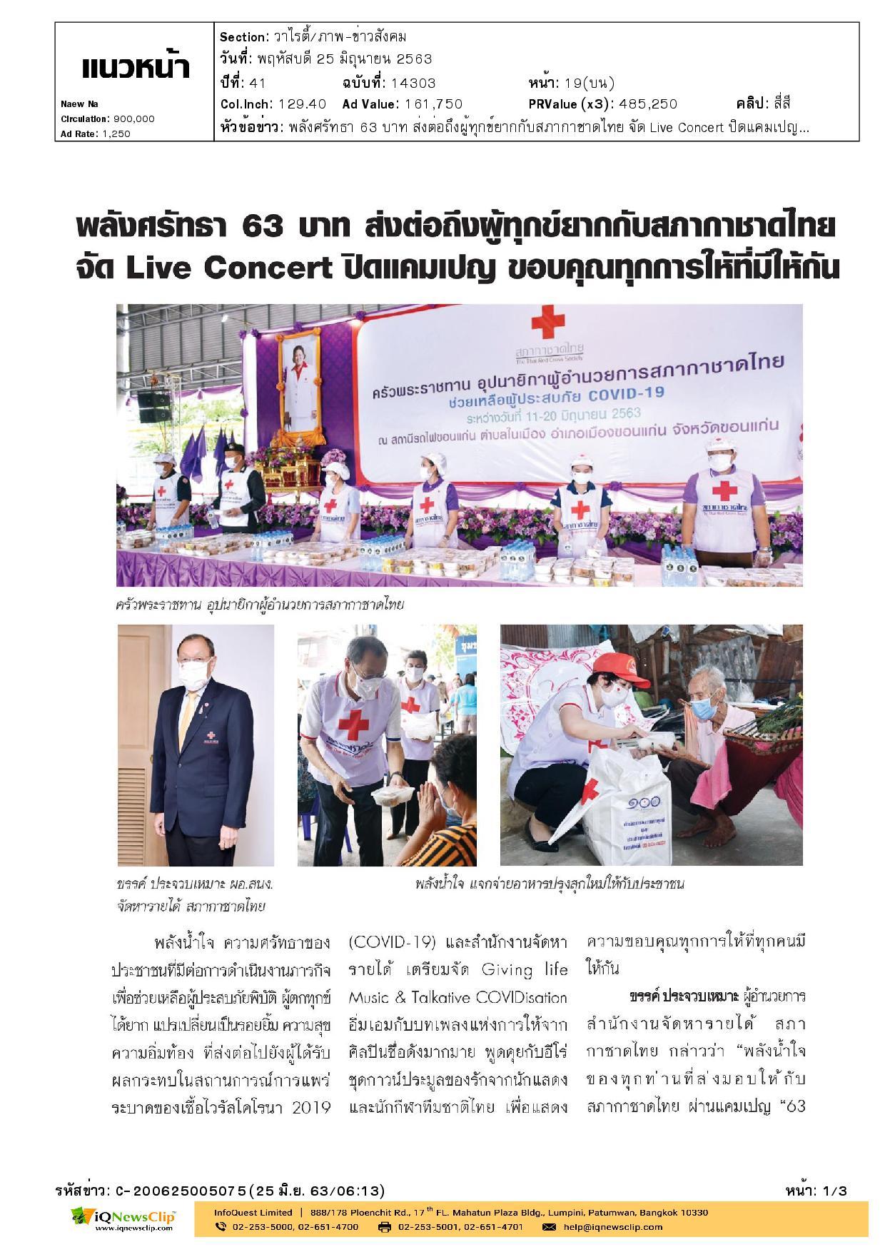พลังศรัทธา 63 บาท ส่งต่อถึงผู้ทุกข์ยากกับสภากาชาดไทย