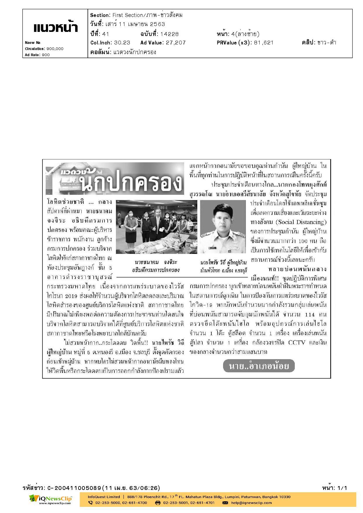 วมบริจาคโลหิตให้แก่สภากาชาดไทย เนื่องจากการแพร่ระบาดของไวรัสโคโรนา 2019
