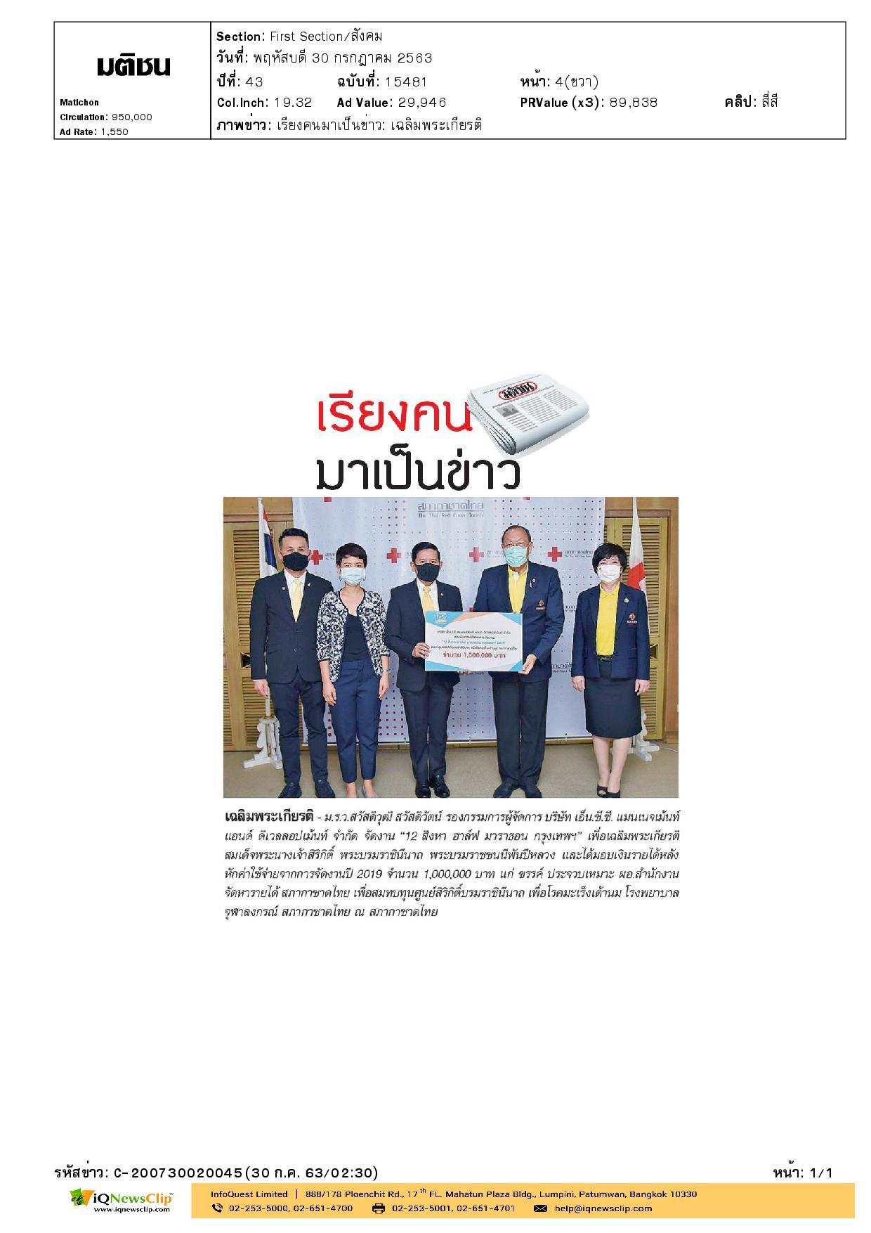 รายได้หลังหักค่าใช้จ่ายจัดงาน 12 สิงหา ฮาล์ฟ มาราธอน กรุงเทพฯ 2019