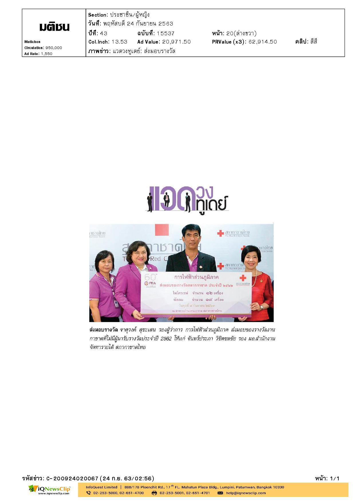 มอบของรางวัลงานกาชาดที่ไม่มีผู้มารับรางวัล ประจำปี 2562 ให้แก่สภากาชาดไทย