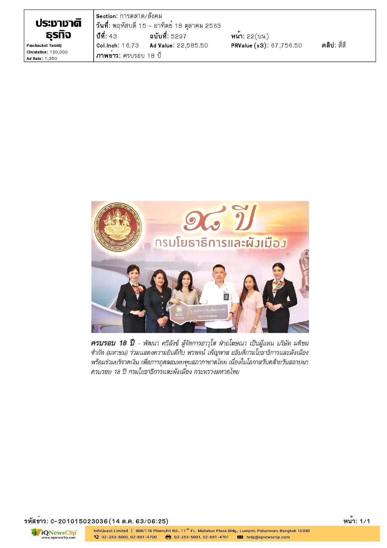 บริจาคเงินสมทบทุนสภากาชาดไทย