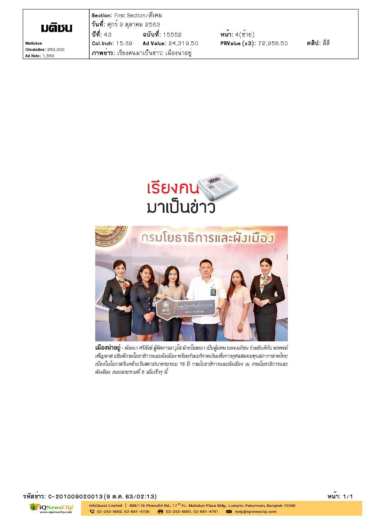 บริจาคเงินสบทบทุนสภากาชาดไทย