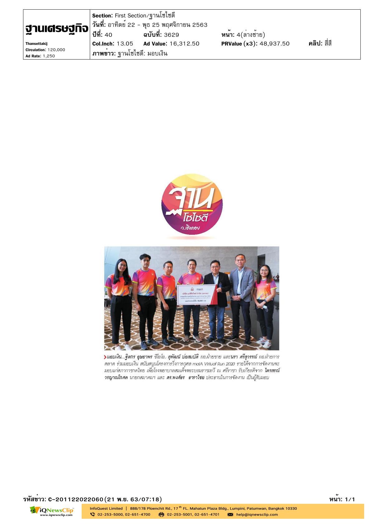 """โครงการ วิ่งการกุศล """"maiA Virtual Run 2020"""""""