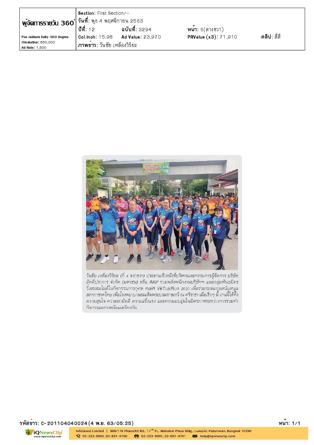 วิ่งการกุศล maiA VirTualRun 2020 เพื่อระดมทุนสนับสนุน รพ.สมเด็จฯ