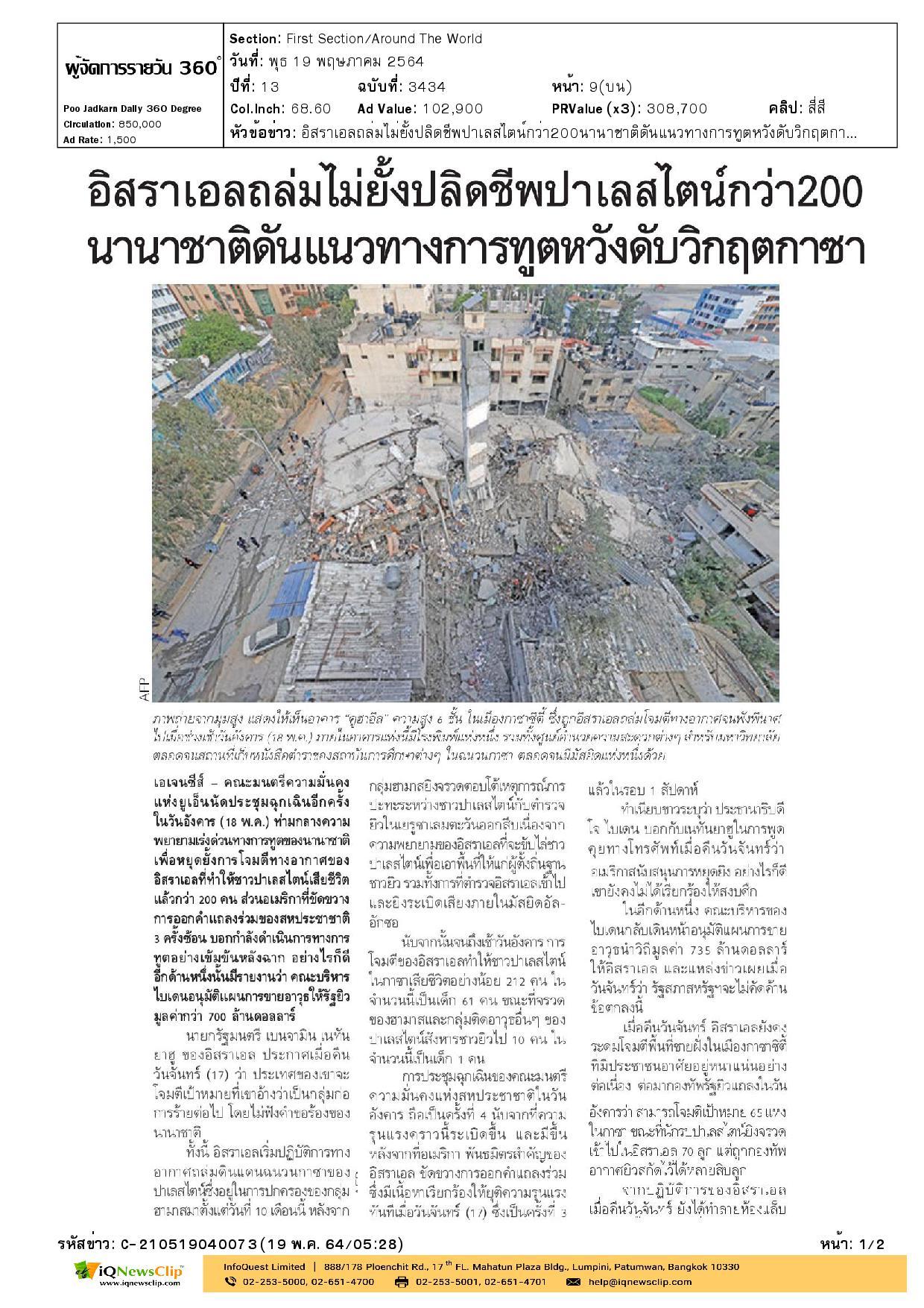 สำนักงานของสภาเสี้ยววงเดือนแดง (กาชาด) กาตาร์  ได้รับความเสียหายจากเหตุโจมตีทางอากาศของทหารอิสราเอล