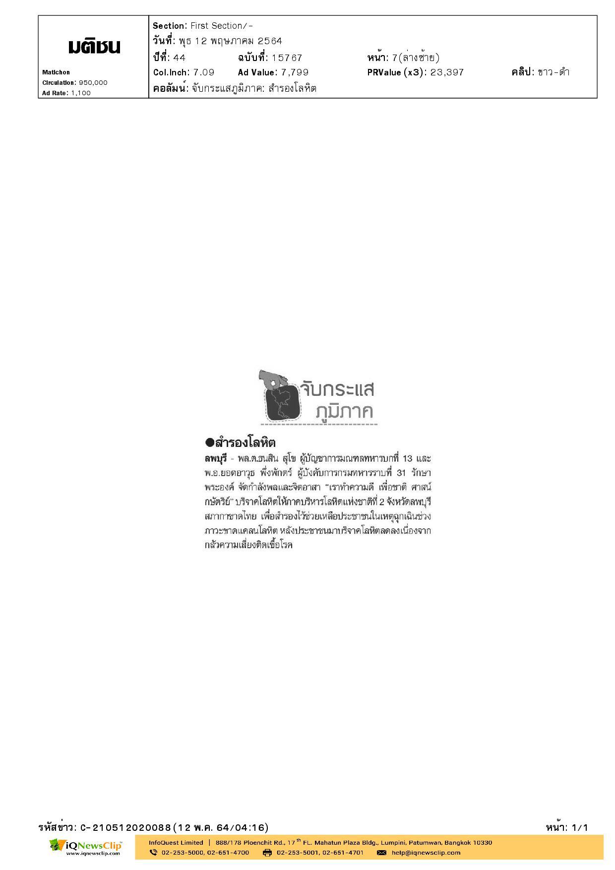 บริจาคโลหิตให้ภาคบริการโลหิตแห่งชาติที่ 2 จ.ลพบุรี