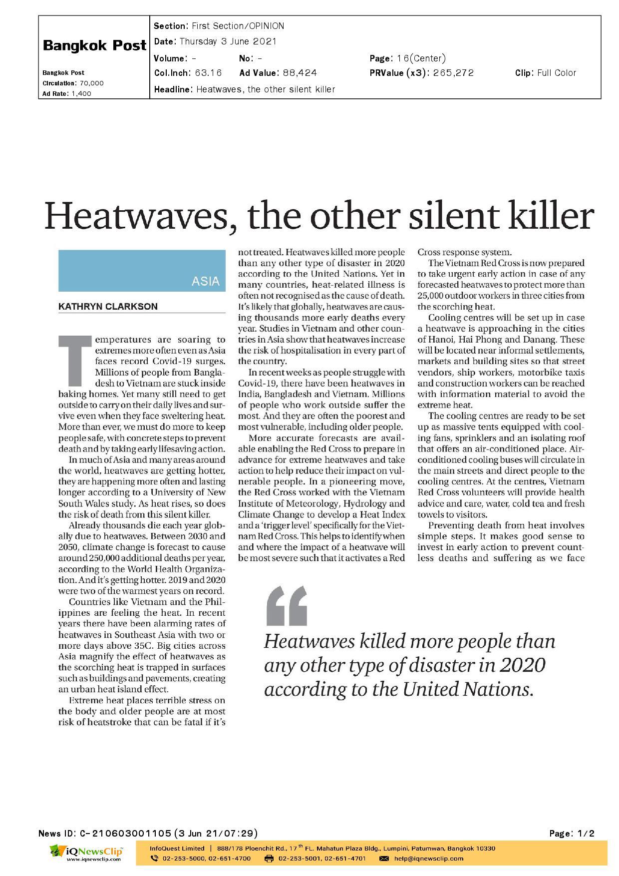 Heatwaves, the other silent killer