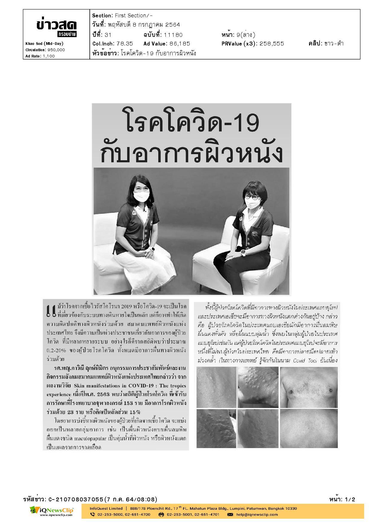โรคโควิด-19 กับอาการผิวหนัง