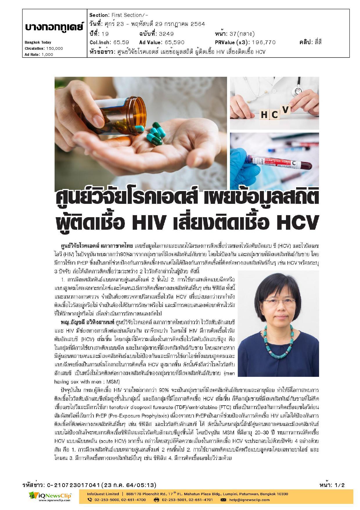 ศูนย์วิจัยโรคเอดส์ เผยข้อมูลสถิติผู้ติดเชื้อ HIV เสี่ยงติดเชื้อ HCV