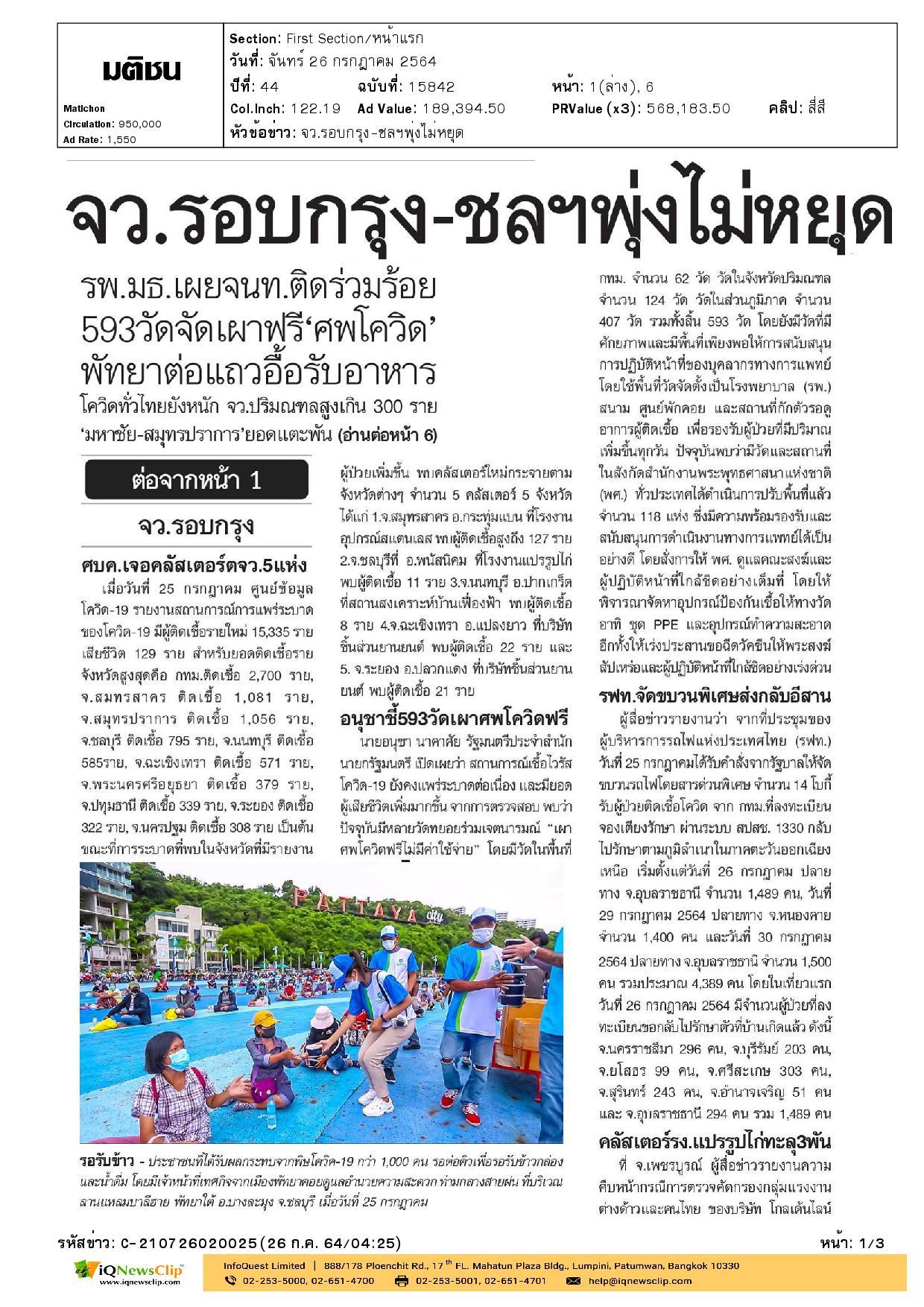 ประสานงานจากสภากาชาดไทย เรื่องการจัดสรรวัคซีนโมเดอร์นา
